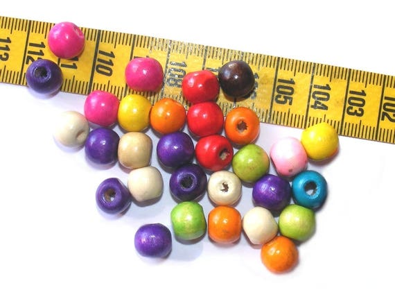 Round 8mm Mix Color x 25 wood beads