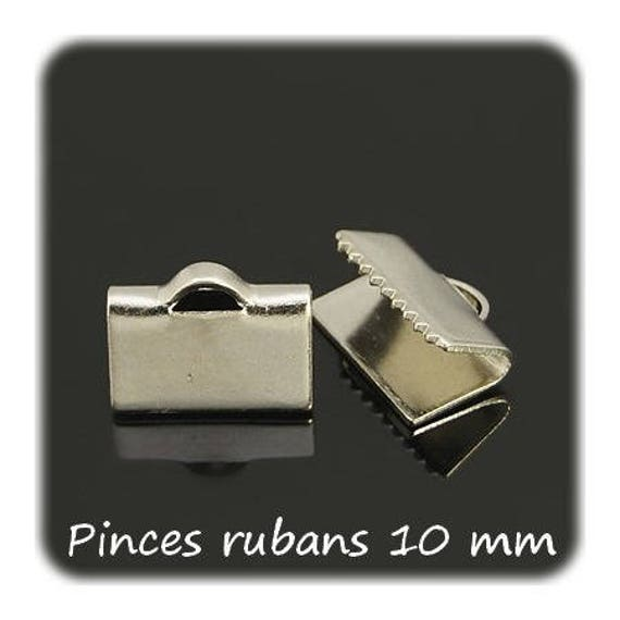 Ribbon 10 mm platinum silver clips x 10
