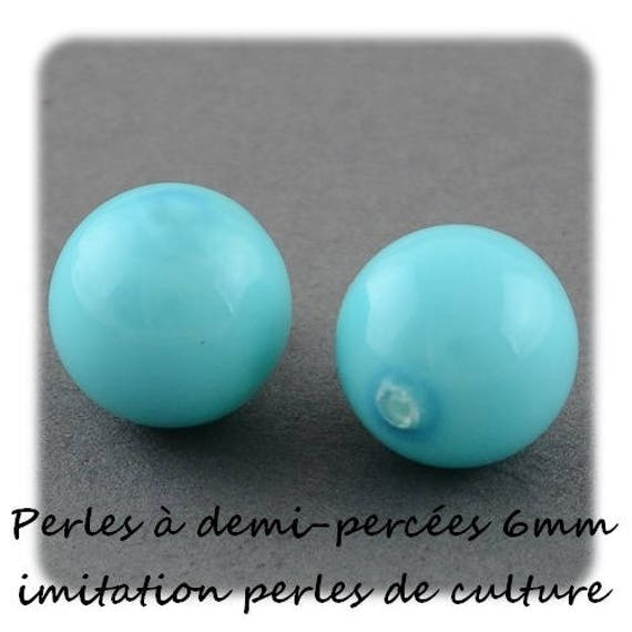 Pearly beads 6 mm demi-percees color [DeepSkyBlue] x 2