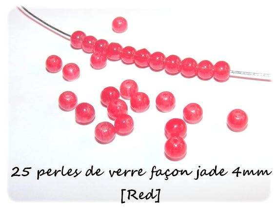 Perles de verre Imitation Jade 4mm [Red] x25