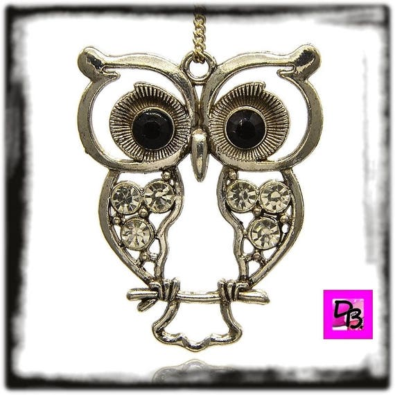 Pendant # # # large # rhinestone OWL charm chain # 55 mm # metal # silver antique # crystal # lucky # gift