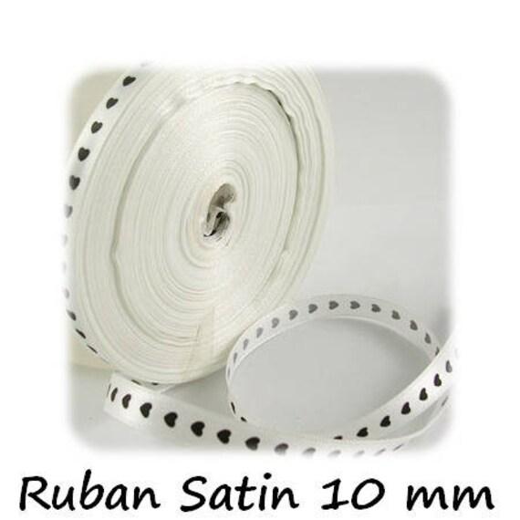 Ruban Satin 10 mm [WhiteandBlackHearts] x 1 mètre