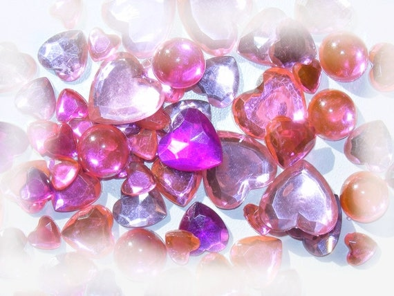 Cabochons acrylic stick 5 ~ 20mm Mixed Color pink x 10