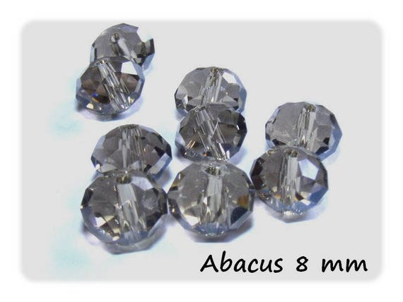 Pearl Crystal de Boho ஸ shape Abacus faceted 8 mm ஸ BlackDiamond x 10 color