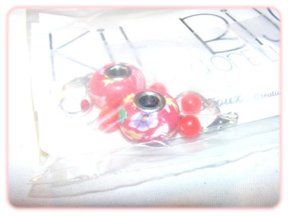 """DIY"" Kit earrings to make yourself [Floral Red]"