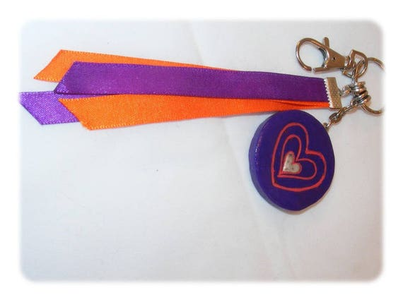 Bag charm polymer clay heart, heart key chain, unique DollyDoo, accessory bag, handmade, MOM gift, purple, polymer clay