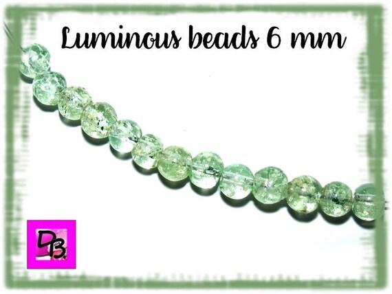 10 Perles Luminous [SeaGreen] 6mm
