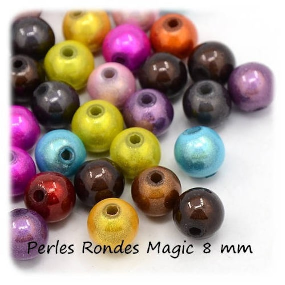 [ColorMiracle] multicolored 10 x 8 mm round beads