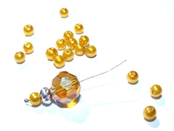 Perles Rondes Nacrées 4mm Gold x50