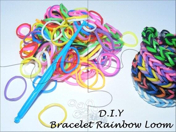 """Kit child """"DIY"""" Bracelet of colored elastics [Rainbow Loom."""