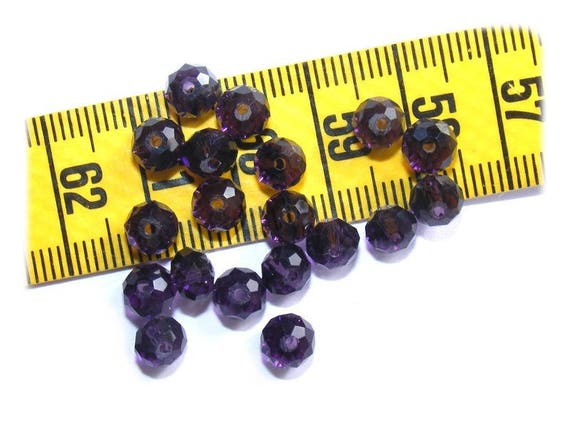 Abacus faceted 6x4mm Crystal Boho Dark Amethyst x 25 beads