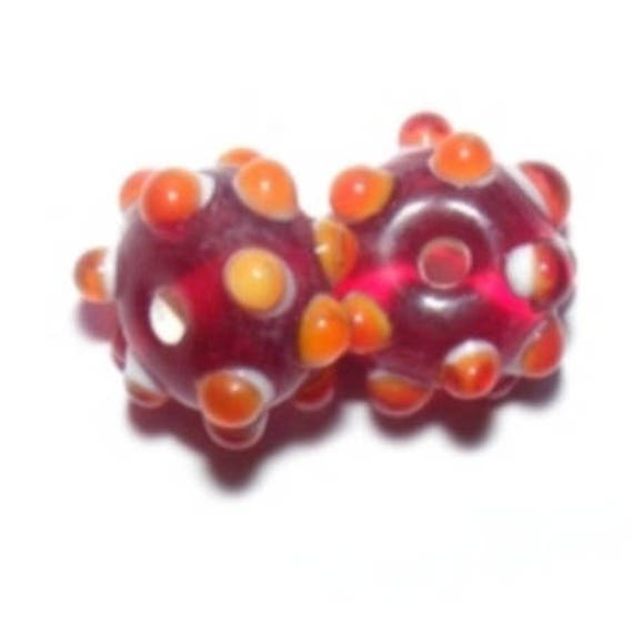 Lampwork 15 teeth Crimson x 1 mm beads