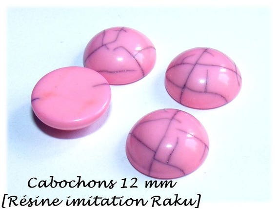 Cabochon for earrings, cabochon, cabochon faux Raku cabochon stick earrings, pink cabochon, primer DollyDoo, 12 mm