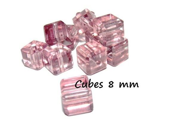 Perles en Cristal de Bohème forme CUBE de 8 mm [Amethyst] x4
