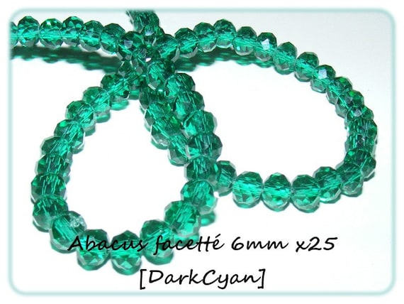 Abacus faceted 6x4mm crystal of Bohemia DarkCyan x 25 beads