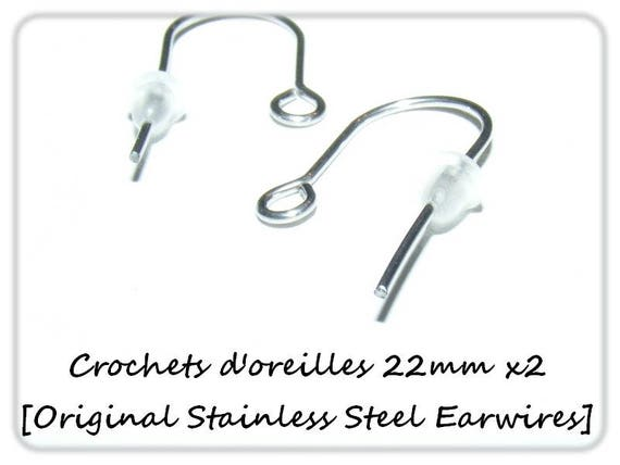 Hooks, stainless steel hooks, hooks 22 mm findings dollydoo jewelry, earring parts