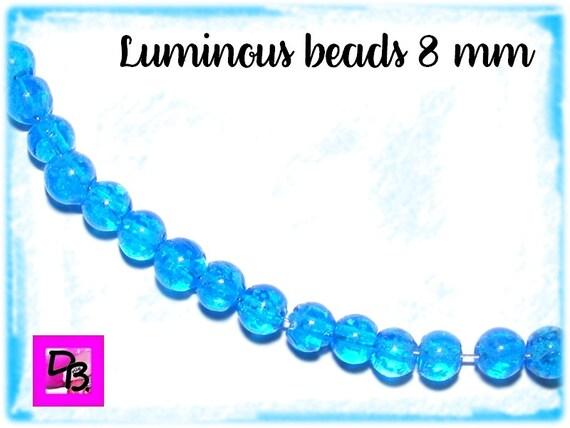 10 perles Luminous [DeepSkyBlue] 8mm