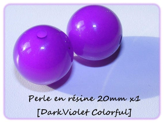 Perle en résine brillante 20mm [DarkViolet Colorful] x1