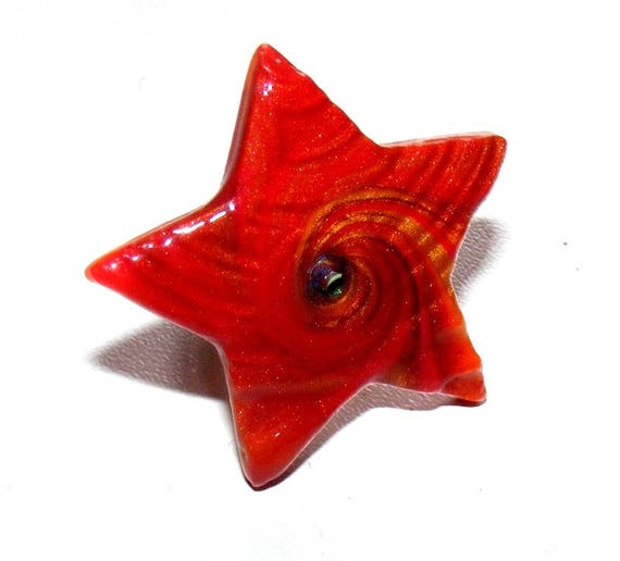Starry red Orange polymer clay ring