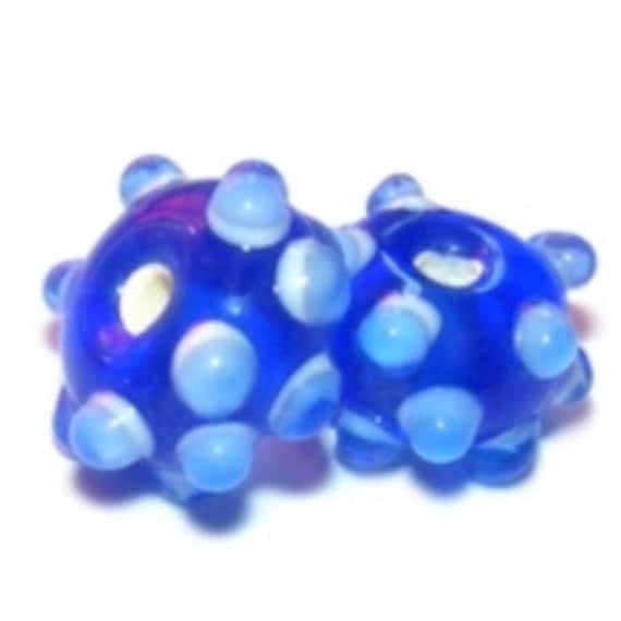 Perles Lampwork 15mm Picots RoyalBlue x1