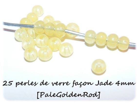 Imitation Jade 4mm [PaleGoldenRod] x 25 glass beads