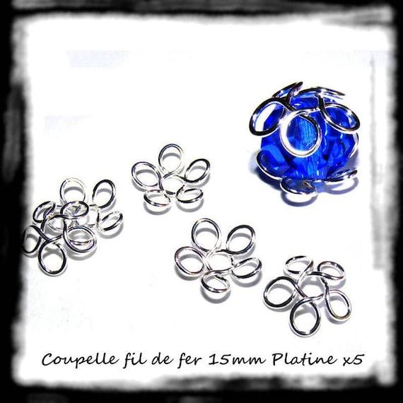 Apprêts Coupelles Calottes [Fil de Fer Simple 5 Boucles] 15mm Argent Platine x5