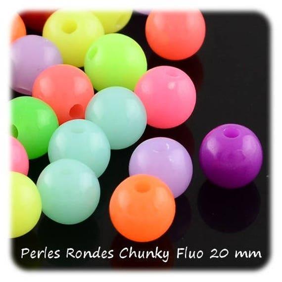 Round beads 20 mm x 1 [ChunkyFluo]