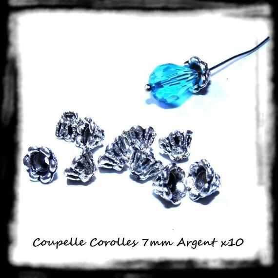 Findings bead caps caps [Corollas] 7mm silver x 10
