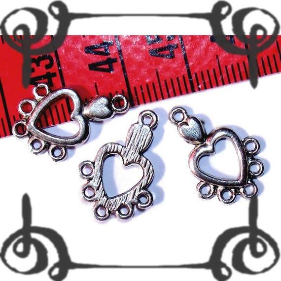 Chandelier 20x13mm silver heart connector bead x 1