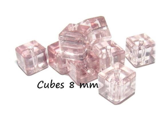 Perles en Cristal de Bohème forme CUBE de 8 mm [Light Amethyst] x4