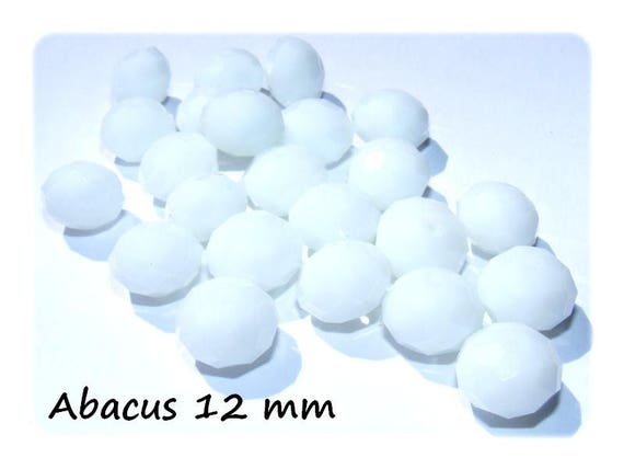 Bohemian crystal bead shape Abacus faceted 12 mm color ChalkWhite x 4