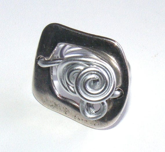 Silver Metal and aluminum size 57 ring Designer [Orion]