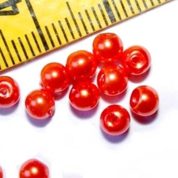 Round Pearly 4 mm Orange x 50