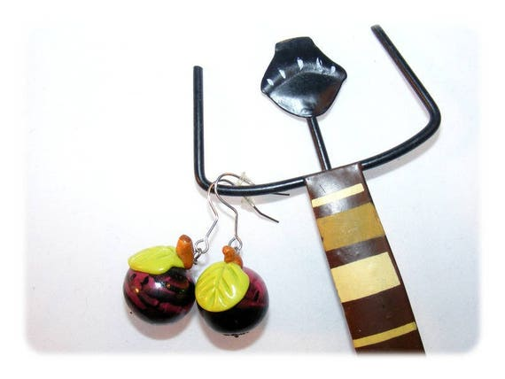 Round plum polymer clay earrings
