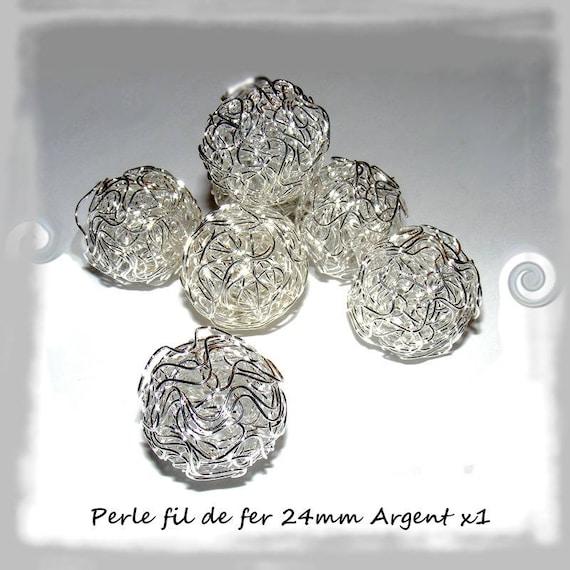 Round wire 24mm x 1 Platinum silver Pearl
