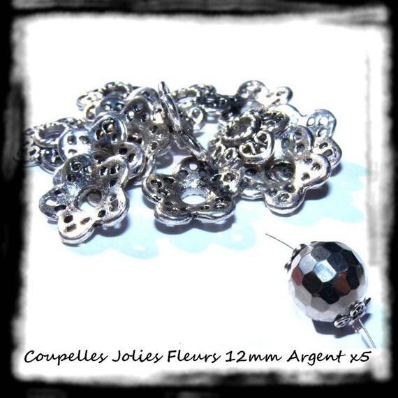 Primer caps bead caps [pretty] 12mm silver x 5