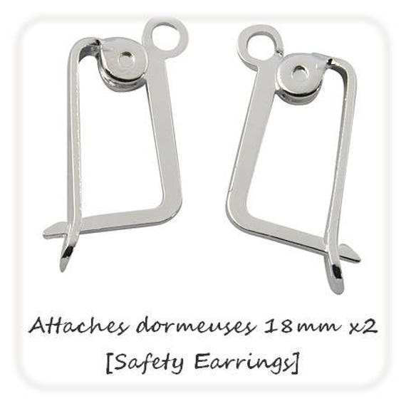 1 paire de dormeuses 18mm [Safety Earrings] Argent Clair