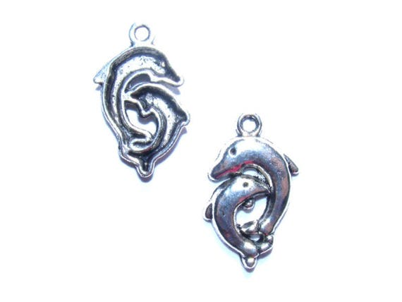 LAST set - Pair of dolphins 23 silver x 5 mm metal charms