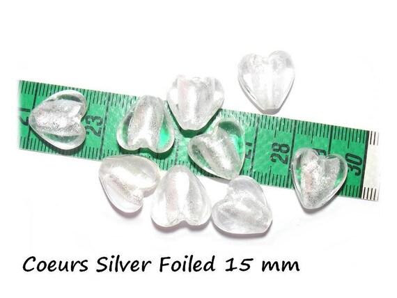 Perles Coeur Lampwork Silver Foiled 15mm [Clear] x2