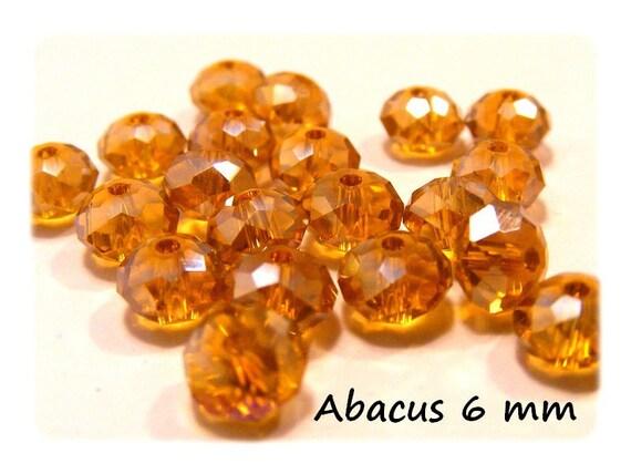25 Perles 6 mm couleur Topaz