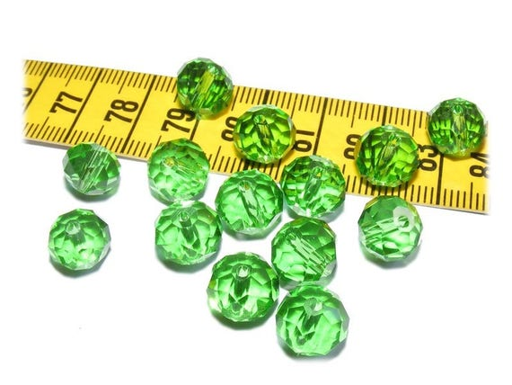 Beads Abacus faceted ல் Bohemian crystal ல் Peridot 6 x 10 mm