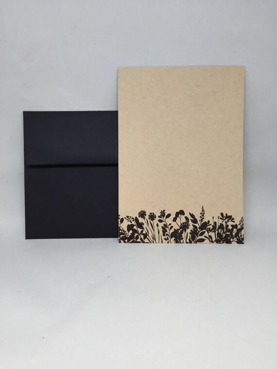 follaje Floral 10 Invitaciones De Boda en Blanco Kraft tarjeta Paquete de 10 flores
