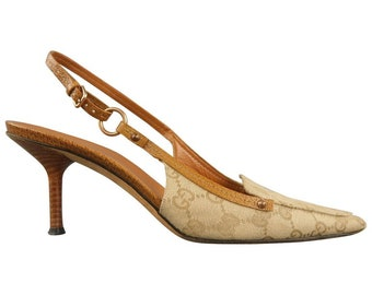 dbc5f44856f GUCCI beige monogram canvas   tan leather slingback pumps - shoes size 39
