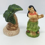 Hula Girl  Palm Tree Salt Pepper Shakers Vintage Tiki Island Themed Colorful S & P Collectable Dining and Serving