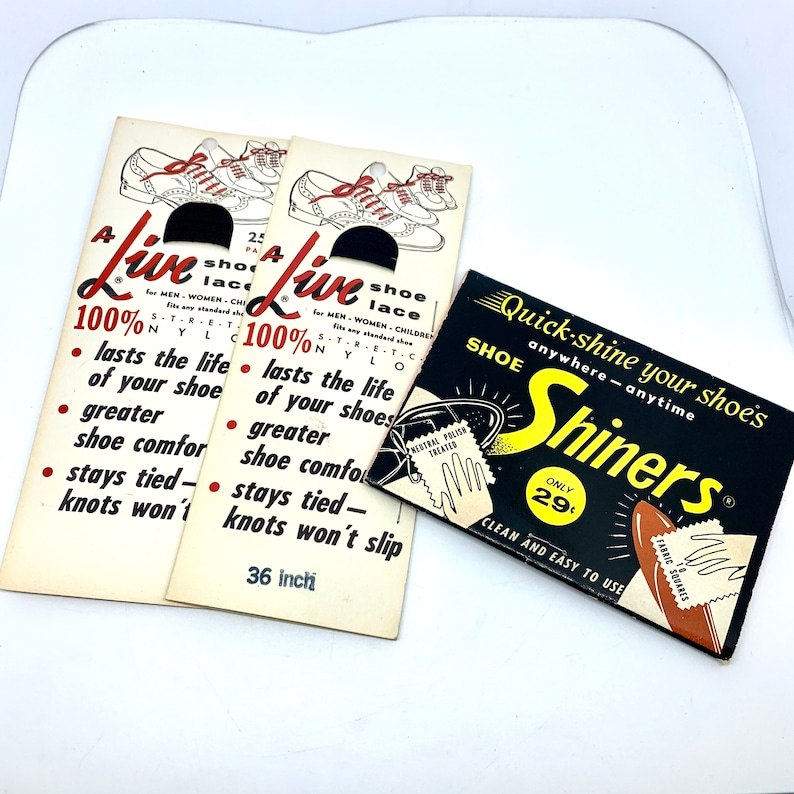 Shoe Shiners and Shoe Laces In Original Vintage Packaging A image 0