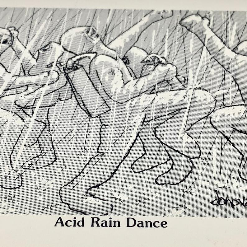 Vintage Acid Rain Dance Postcard Recycled Paper Co Greeting Card Statement Card 1984 Ephemera