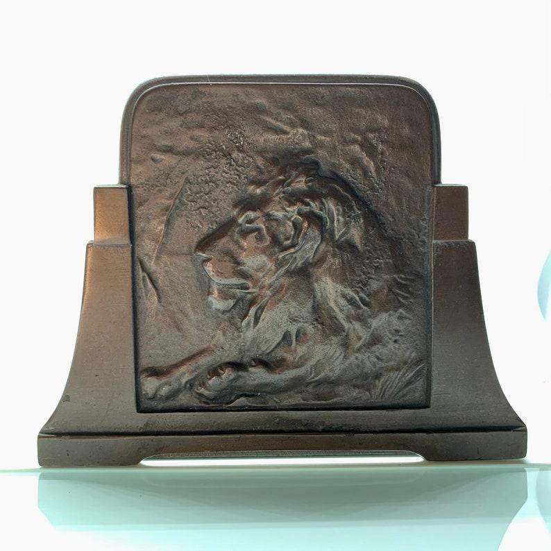 JUDD Bronze Lion Book Slide Vintage Book Rack Expandable image 0