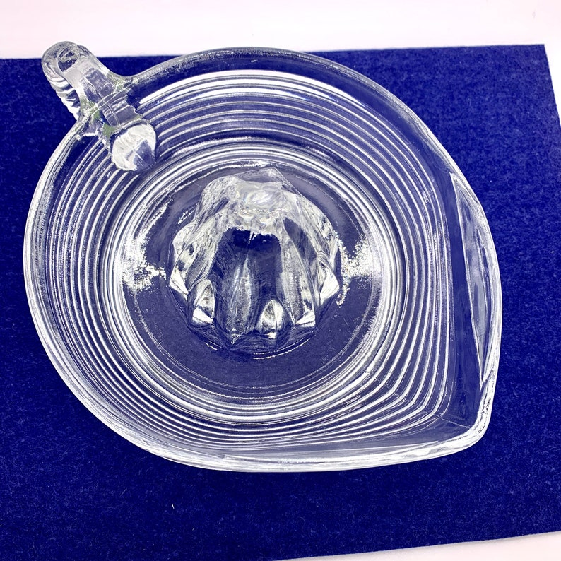 Vintage Glass Juicer Reamer Pitcher Horizontal Ribbed Pattern image 0