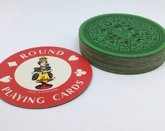 Round Mayan Calendar playing Cards - Complete Deck of Tiki Round Playing Cards - Circle Deck of Totem Face Cards