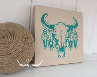 Wooden mini- Teal cow skull n' feathers